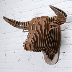 DIY drewno byk głowa europa północna styl drewno głowa zwierzęcia ściany wiszące na restauracja tematyczna dekoracja wnętrz WDM014M 9 kolorów w Posągi i rzeźby od Dom i ogród na