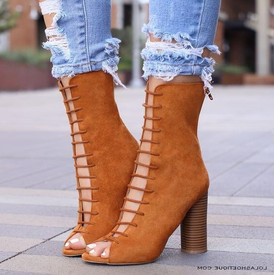 Fashion Brown Suede Leather Women High Boots Square Heels Lace-up Cut-out Gladiator Boots Plus Size 11 Chunky Heels Ankle Boot