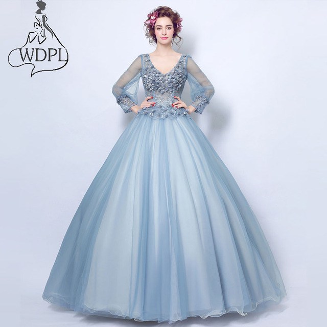 e46003b13baf Fashion Sweet Blue Flower Fairy Princess Prom Dress Transparent Long Sleeves  Appliques Party Dresses Ball Gown
