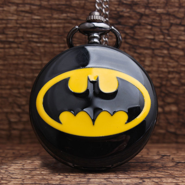 2017 New Arrived Black Smooth Dial Batmen Pocket Watch with FOB Chain Batmen Log
