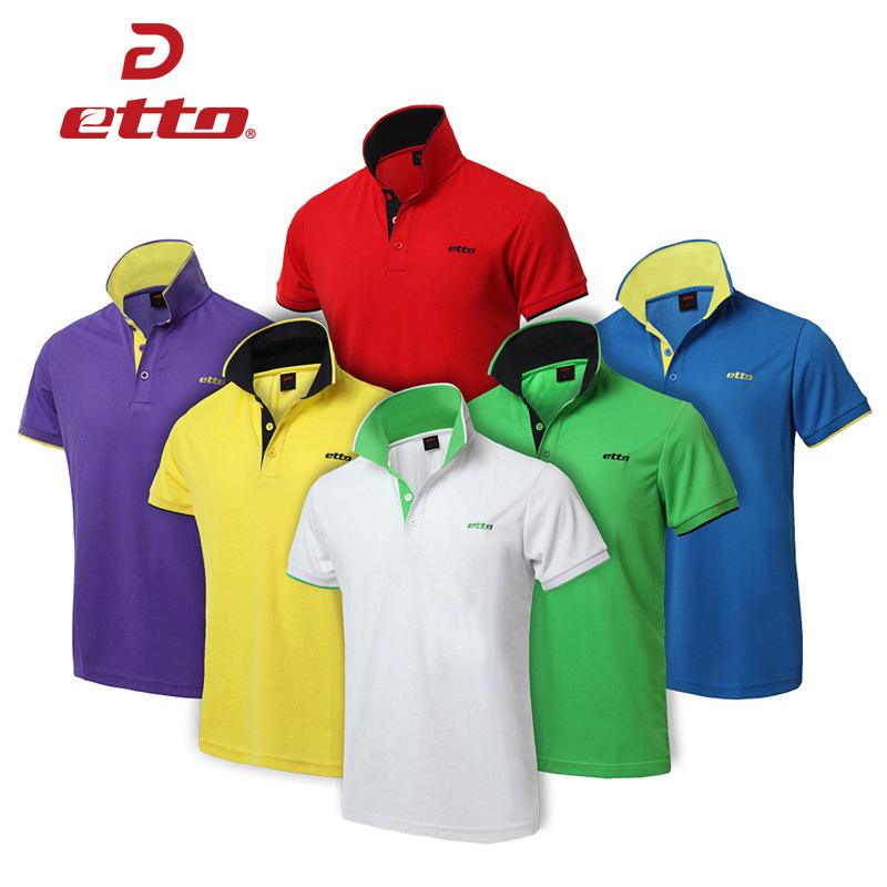 Etto Men Women Short Sleeve Training Exercise Polo Shirts Quick Dry Leisure Sports T-shirts Running Fitness Body Building TRN030