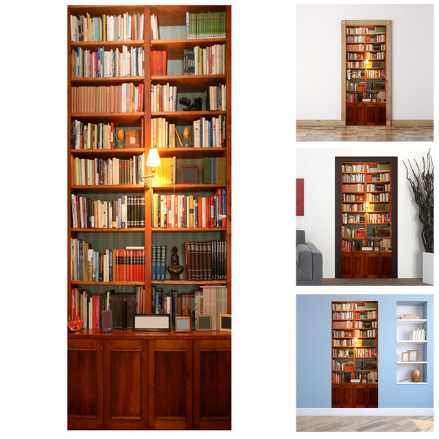PVC 3D Wall Sticker Bookshelf Self Adhesive Door Fridge Stickers Wallpaper Home Living Room Art Decals Decoration