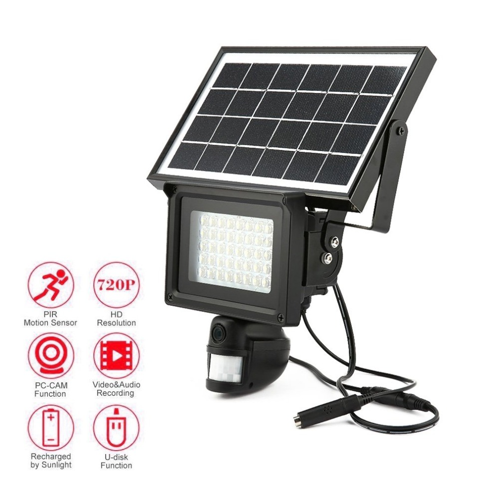 720P HD Solar IP Camera CCTV Security Camera DVR Recorder PIR Motion Detection With 40 IR LEDS Solar Floodlight Street Lamp недорго, оригинальная цена