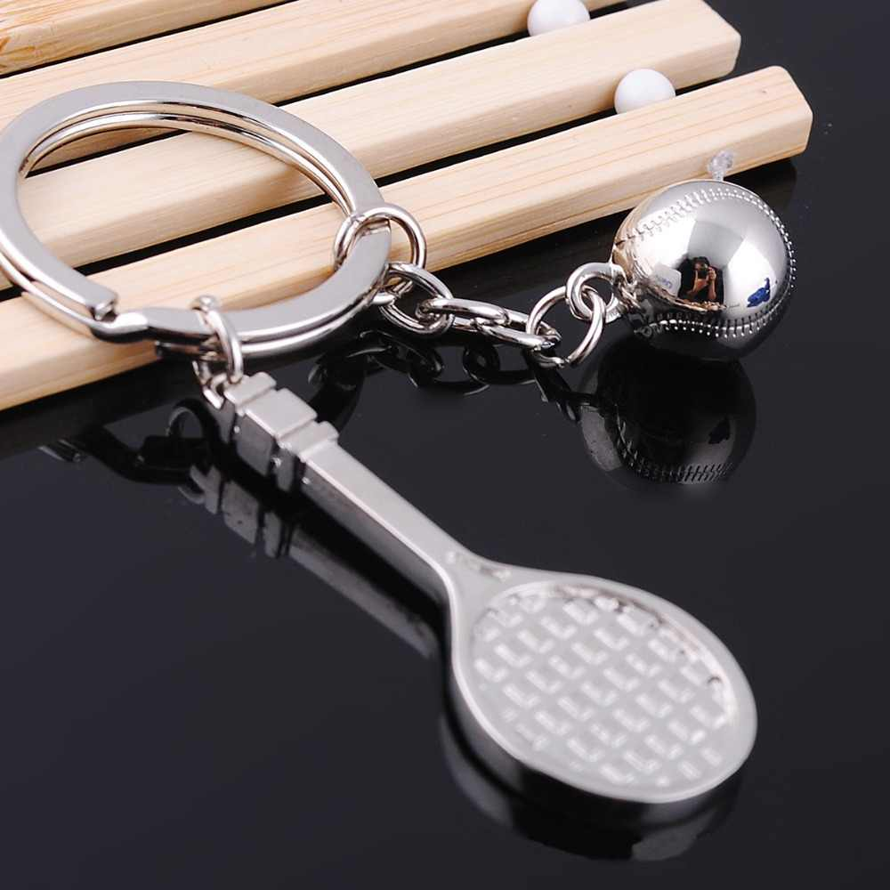 1 PC Hot Sale High Quality Mini Alloy Tennis Ball Racket Keychain Key Ring Creative Gift For Boy Girl Friend Sport Key Chain
