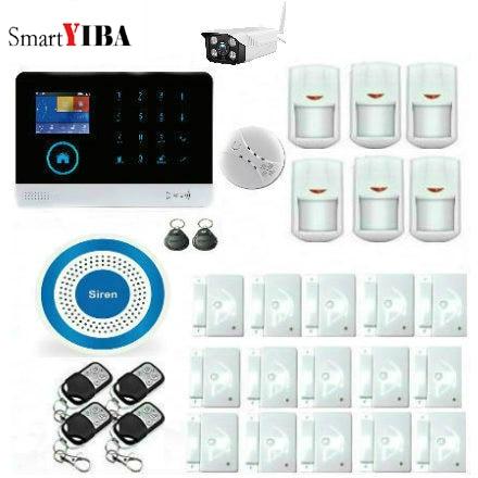 SmartYIBA 433MHZ Wireless GSM Smart Home Alarm System with Wireless Smoke Detector Outdoor IP Camera Alarm Sensor Siren Kits