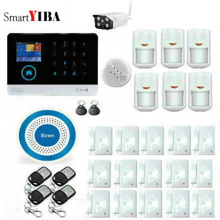 SmartYIBA 433MHZ Wireless GSM Smart Home Alarm System with Wireless Smoke Detector Outdoor IP Camera Alarm Sensor Siren Kits