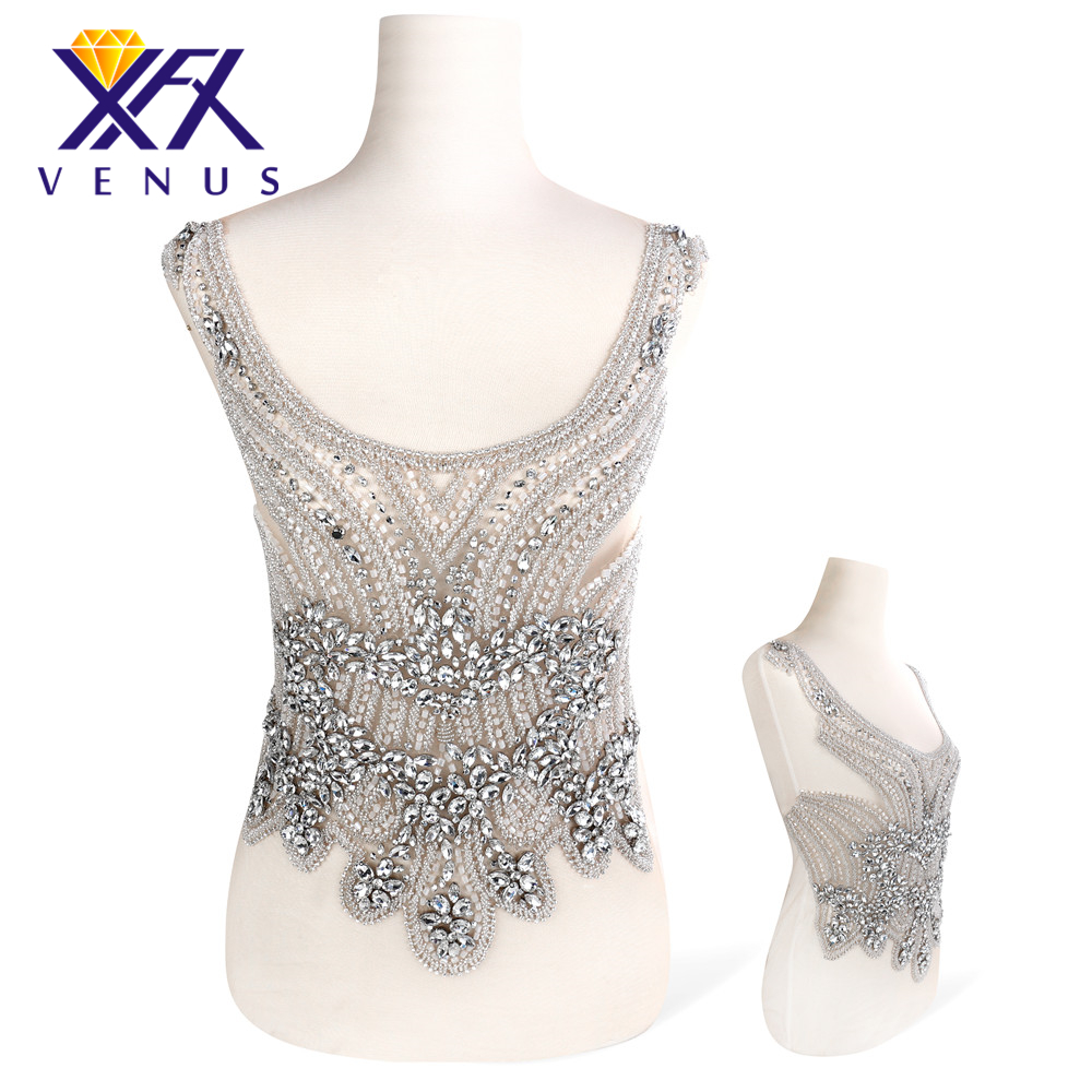 XINFANGXIU 1 Set Handmade Sparly bling dress large rhinestone applique patches beads pearls appliques embroidery for