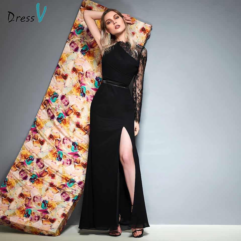 Dressv Black One Shoulder Long Sleeves Evening Dress Floor Length
