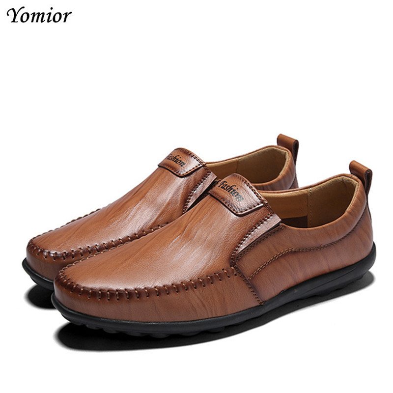 Yomior Men Genuine Leather Casual Shoes Comfortable Flat Breathable Black Brown Loafers Sneakers Leather Shoes Business Shoes fashion tassels ornament leopard pattern flat shoes loafers shoes black leopard pair size 38