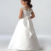 Лидер продаж, элегантные атласные платья с цветочным принтом для девочек, длинные платья принцессы с аппликацией для вечеринки, конкурса, первого причастия