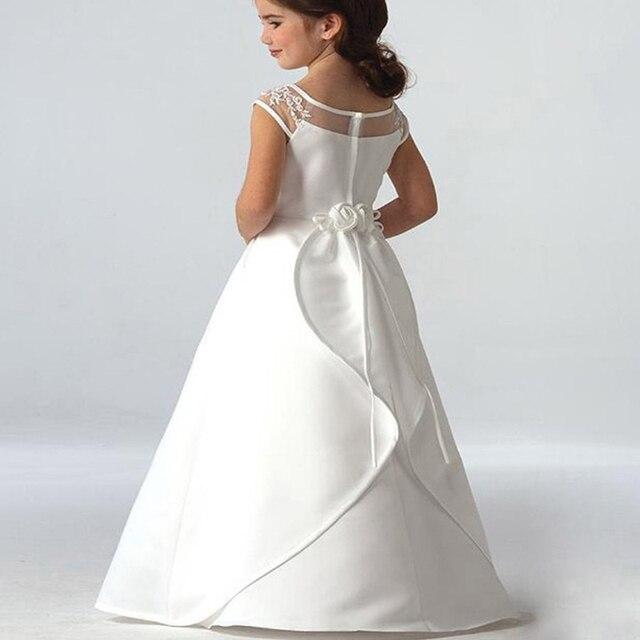 Hot Sale Elegant satin Flower Girl Dresses Appliques Long Princess Party Pageant First Communion Dresses