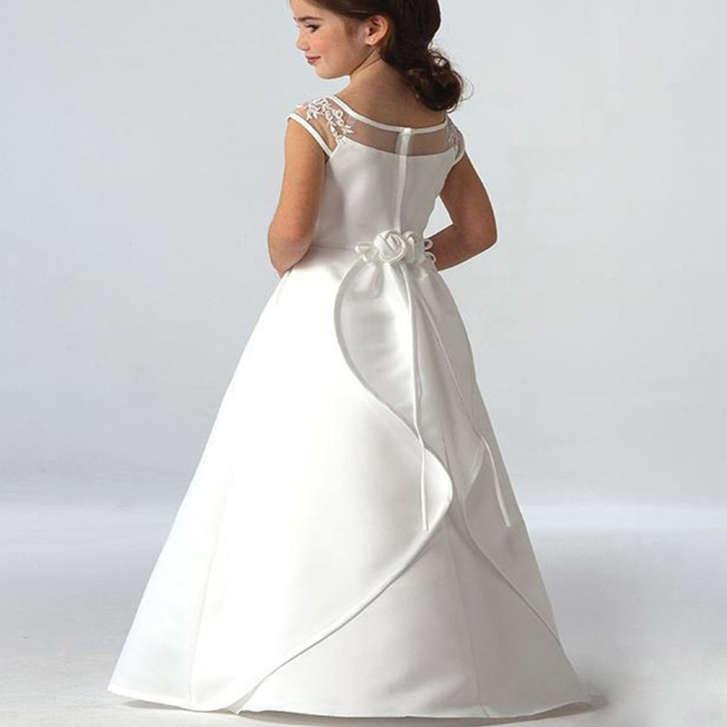 Offre spéciale élégante satin fleur fille robes Appliques longue princesse fête Pageant première Communion robes