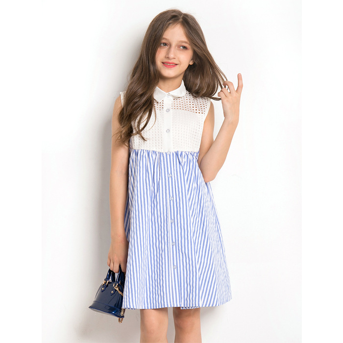 Striped Patchwork Lace Sleeveless Girls Dresses A Line Loose Teens Kids Dress Fashion Summer Clothes For 9 10 11 12 13 14 Yrs sweet sleeveless cut out lace spliced striped dress for women