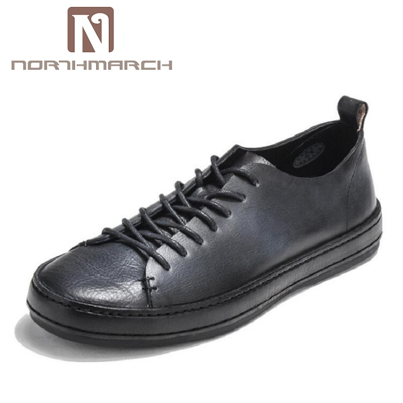 NORTHMARCH Brand New Black Retro Style Men Shoes High Quality Men Casual Shoes Men Lace Up Autumn Shoes Sapato Masculino Couro