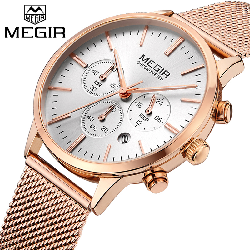 2018 MEGIR Luxury Brand Woman Quartz Watch Women Fashion Waterproof Wristwatch Ladies Casual Business Watches Relogio Feminino silver diamond women watches luxury brand ladies dress watch fashion casual quartz wristwatch relogio feminino