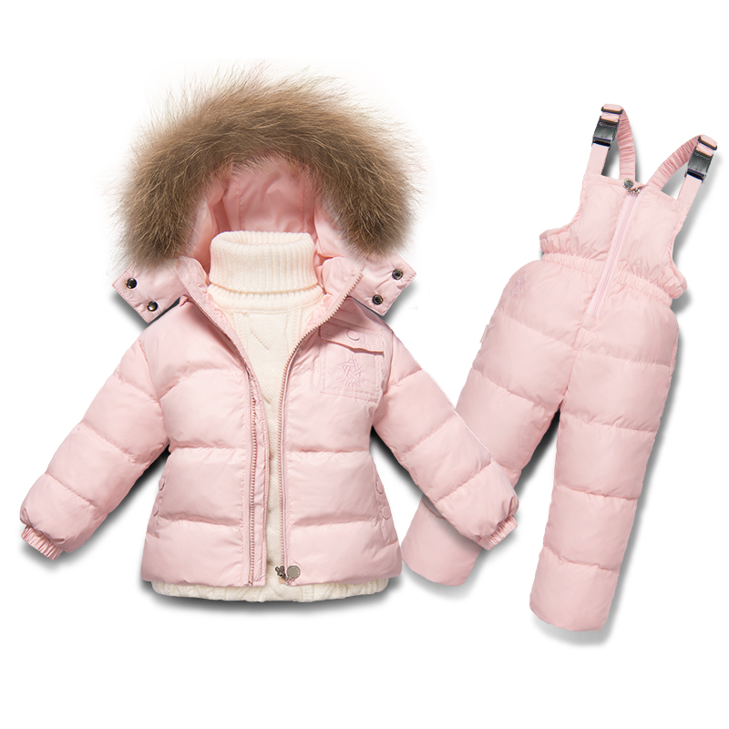 2pcs/set waterproof Snowsuit winter snow wear hooded Natural fur girls boys outwear white down jackets thermal jumpsuits jackets