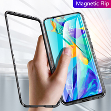 Huawei P30 Pro Case Business Magnetic Cover For Lite Metal Frame And Tempered Glass Anti-knock Phone