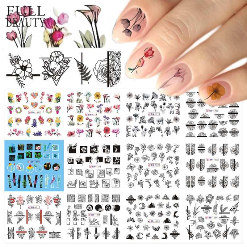 12 Type Nail sticker Slider Flower Leaf Design Water Transfer Decal on Nails Art Manicure Decoration Foils Tips CHBN1213-1224-1