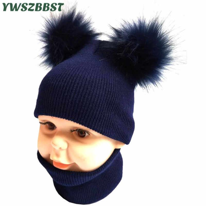 2020 新ニットベビー帽子秋冬女の赤ちゃん帽子ボーイズキャップスカーフ幼児キッズビーニーウールポンポン帽子 1-4Y アクセサリー