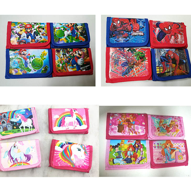12Pcs  Spiderman Winx Club Pokemon Coin Purse Cute Kids Cartoon Wallet Bag Pouch Children Purse Small Wallet Party Gift