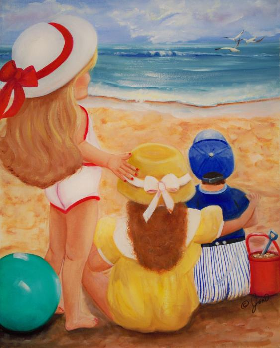 High quality Oil painting Canvas Reproductions Beach Party By Joni McPherson hand paintedHigh quality Oil painting Canvas Reproductions Beach Party By Joni McPherson hand painted