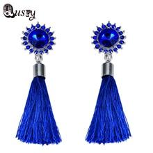 Boho Women Blue SunflowerCrystal Long Big Tassel Earrings from india Hanging Earring Silver Plated wedding engagement jewelry ec