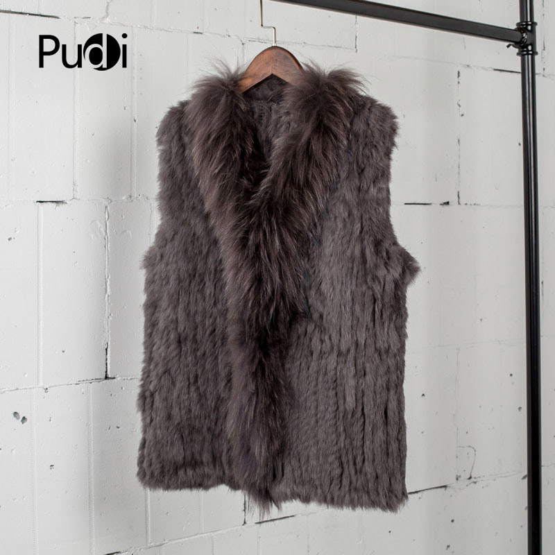 VT7008 womens natural real rabbit fur vest with raccoon fur collar waistcoat/jackets rabbit knitted winter