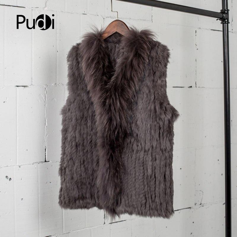 VT7008 envío gratis Chaleco de piel de conejo natural para mujer con chaleco de piel de mapache/chaquetas de invierno de punto de conejo-in piel real from Ropa de mujer    1