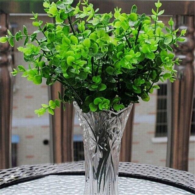 US $1.31 16% OFF|Kunststoff blumen schmücken wohnzimmer eingerichtet  pflanzen gras grüne blätter mit Eukalyptus künstliche blumen dekoration in  ...