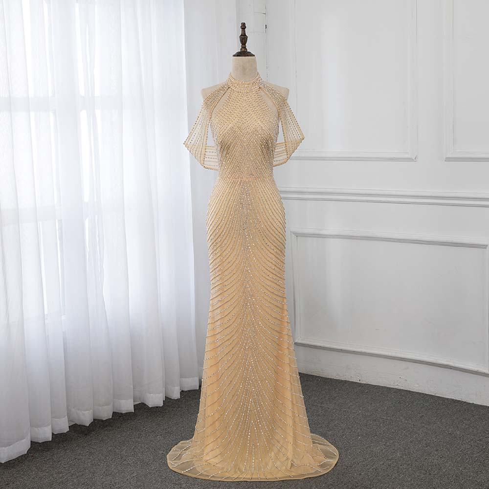 YQLNNE 2019 High Neck Gold Beading Evening Dress Long Prom Gown Robe De Soiree Mermaid Dresses