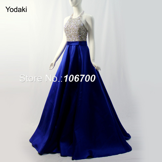 10932f891ed7 New Halter Beaded Long Prom Dresses Backless Party Dress Gold Silver  Sequins Black Royal Blue Satin Ball Gown Evening Gowns 2018