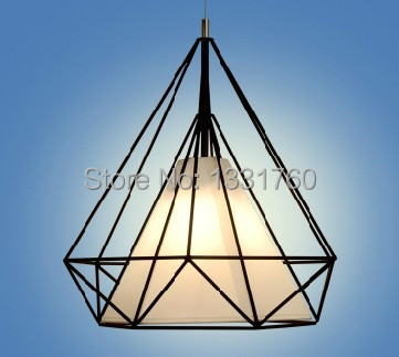 dia38 Artistic Creativity Iron Pendant light Droplight Lamp Light For dinning room Restaurant Lighting Diamond Shape