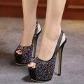 Novo Design Strass Alta-salto alto Sexy Sandálias de Dedo Aberto 16 CM Sandálias de Salto Alto Mulheres Sapatos Bombas de Vestido de Festa