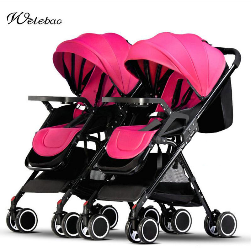 Twins baby stroller ultra-light can be folded newborn carriage can sit can lying trolley s eparable umbrella car angelguard high landscape twins baby stroller can split ultra light umbrella can be two color twins baby stroller