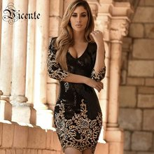 Vicente 2018 New HOT Fashion Gorgeous Shimmer Sequined Sexy O Neck Half  Sleeves Wholesale Women Celebrity Party Dress 22056808a4ca