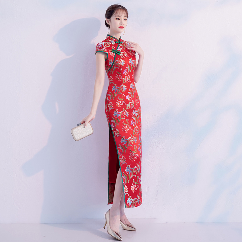 Dame Élégant 2 Traditionnel S Orientale Robe Style xxl 1 style Chinois 2018 Qipao Slim Parti Cheongsam Femmes Sexy Longue Nouveau hrtsQdC