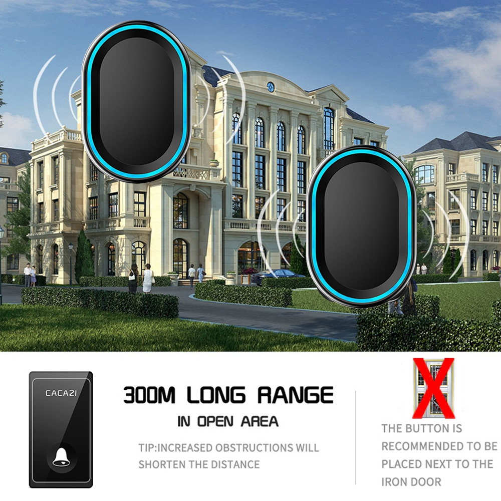 Image 3 - CACAZI Wireless Doorbell No Battery Required Waterproof 1 2 Transmitter 1 2 3 Receiver Self powered Ring Bell US EU UK AU Plug-in Doorbells from Home Improvement