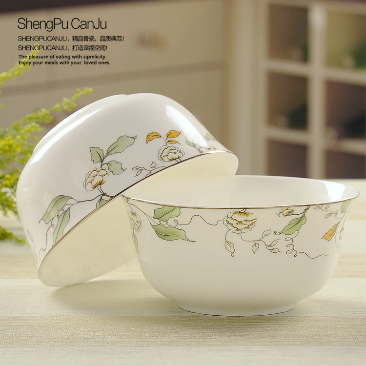 2 piece Creative bone porcelain rice bowls/ Household jobs suit microwave tableware/ Small bowl with lace and flower pattern