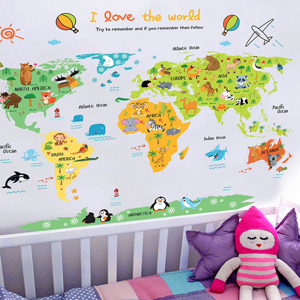 Cartoon World Map PVC DIY Self Adhesive Vinyl Wall Stickers Bedroom Home Decor For Children Room Decoration Art Wall Decal Mural(China)