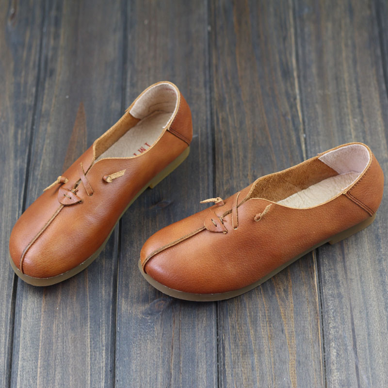 Women's Shoes Genuine Leather Ballet Flats Round toe Slip on Ballerina Flats 2017 Ladies Flat Shoes Female Footwear (968-9) pinsen spring women genuine leather ballet flats casual shoes round toe slip on flats female loafers ballerina flats boat shoes