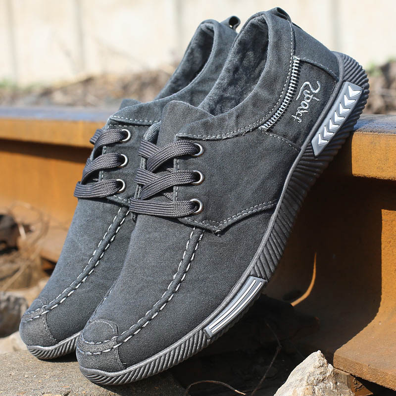 Men sneakers 2018 new denim lace-up canvas shoes men footwear spring summer plimsolls breathable sneakers men casual shoes z suo men s shoes pure color denim casual shoes men s wear in spring and summer of canvas shoes with flat sole zs16106