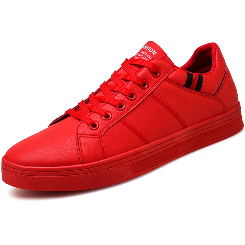 2018 Brand Footwear Skateboarding Shoes Flat Sneakers Red Male Walking Shoes Autumn Black Leather Leisure Men Rubber Shoes Super