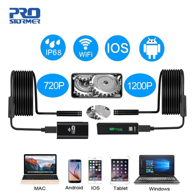 PROSTORMER 8mm Wifi Endoscope Camera 720/1200P Borescope Softwire  Waterproof Mini Endoscopio For Android Iphone 2/3.5/5/10M 3