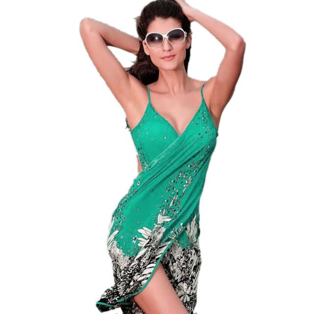 17 New Hot Women Beach Dress Sexy Sling Beach Wear Dress Sarong Bikini Cover-ups Wrap Pareo Skirts Towel Open-Back Swimwear 5