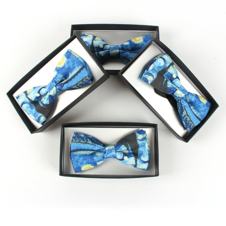 Casual Van Gogh Printing Bow Tie For Mens Womens The Starry Night Bow Tie With Gift Box