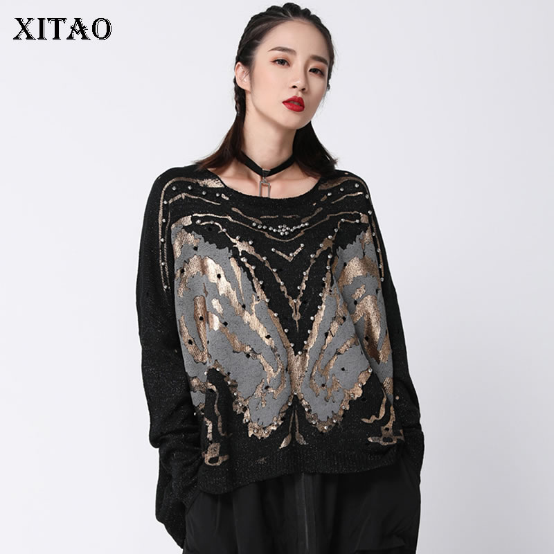 [XITAO] New Women 2018 Autumn Korea Fashion O-neck Full Sleeve Knitted Sweater Female Hollow Out Beading  Casual Sweater ZLL1053