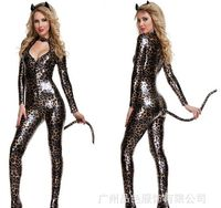 Leopard Bodysuit Chest Exposed Cat Cosplay Woman Costume Sexy Gecelik Long Sleeve Jumpsuit Halloween Trajes For