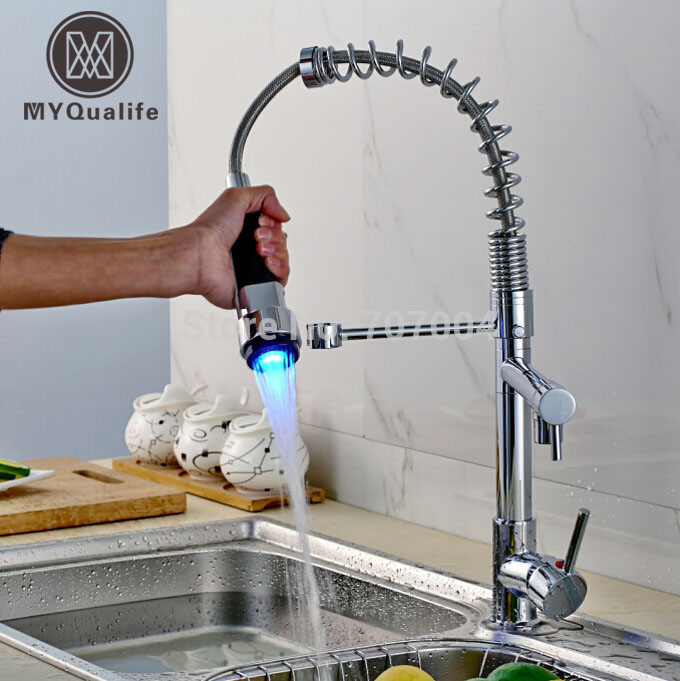 New Arrived Deck Mount Double Spout Hot and Cold LED Light Kitchen Sink Faucet Chrome Finished Brass Kitchen Mixer Tap