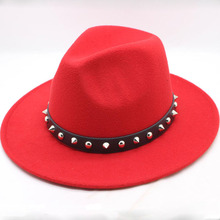 2018 Autumn winter New Wool Belt buckle Jazz Top Hat For Women's Felt Wide Brim Fedora Hat Laday Bowler Gambler Top Hat