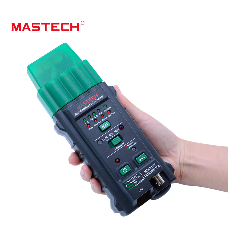 Free shipping Network Cable Tester MASTECH MS6813 Multi-Functions Network Cable Telephone Line Tester Detector Transmitter RJ45